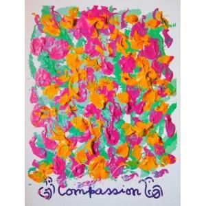 Репродукция картины в стиле Джарна-Кала - Compassion / Сострадание,автор Шри Чинмой (Индия),А5