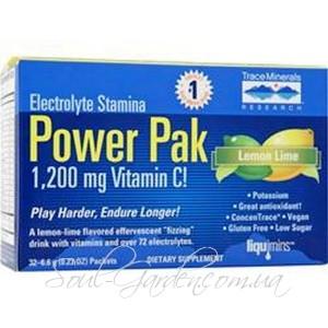 Быстрорастворимый витаминный комплекс Electrolyte Power Pak 1200мг vitamin C(Trace minerals Research,USA) 32пак.по 65 грамм